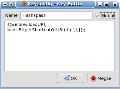 Screenshot of editing the keyboard shortcut