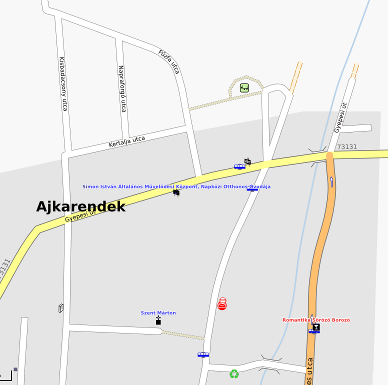 Part of Ajkarendek as visible on OSM