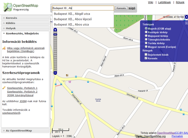 OpenStreetmap website screenshot showing search autocomplete feture.