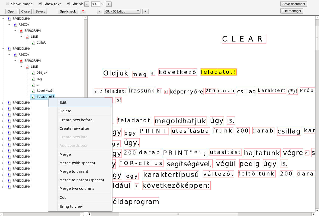 Software screenshot showing a tree of text structure (paragraph, line, word...) and the page layout with editable boxes for each word.