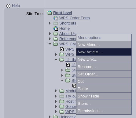 Screenshot of menus and articles tree with popup menu to edit them